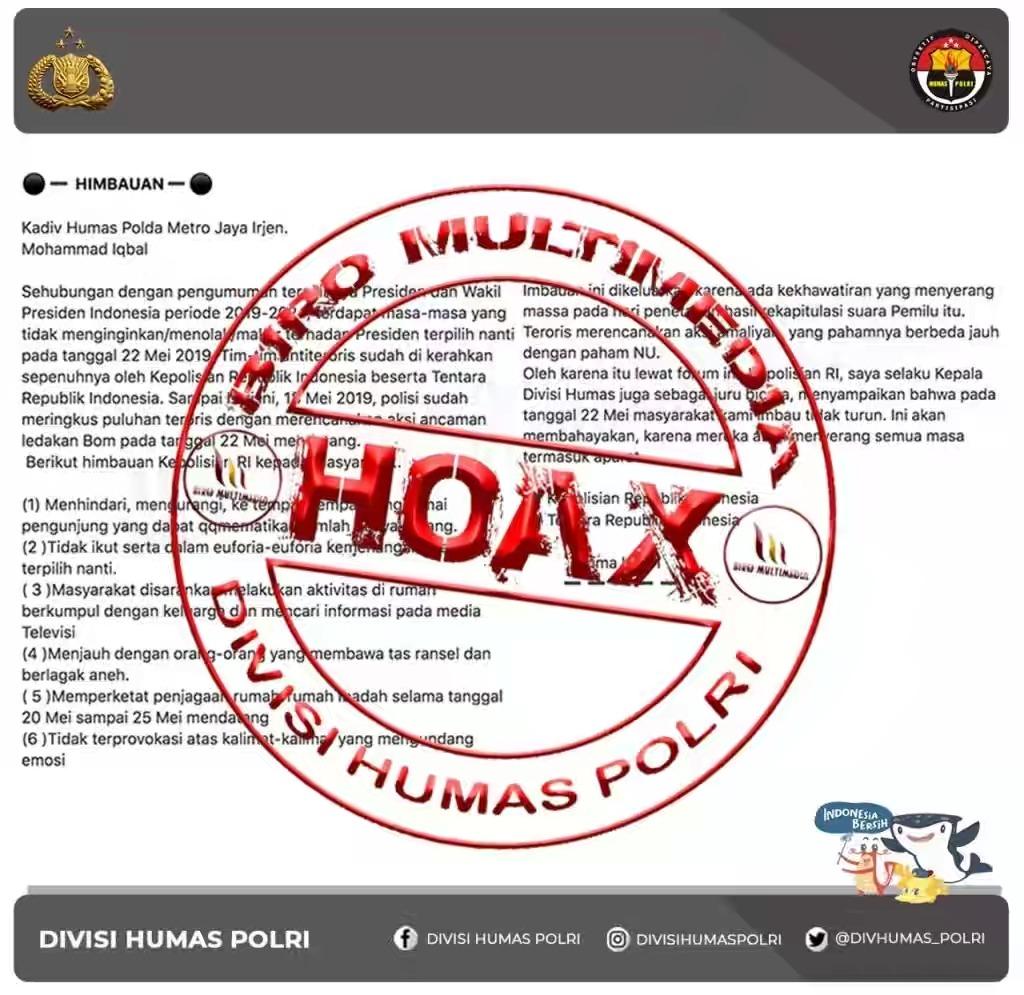 Polri Klarifikasi Hoax Himbuan Mengatasnamakan Kadiv Humas Polri