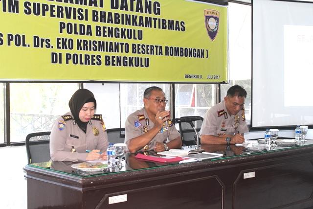 Tim Supervisi Bhabinkamtibmas Polda Bengkulu Kunjungi Polres Bengkulu