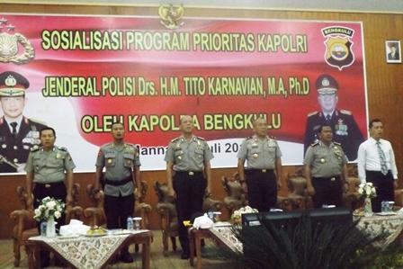 Kapolda Sosialisasi Program Prioritas Kapolri di Polres Bengkulu Selatan