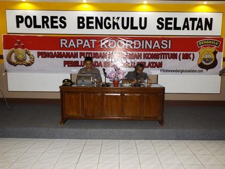 Rapat Koordinasi Pengamanan Putusan MK Pemilu Kada Bengkulu Selatan