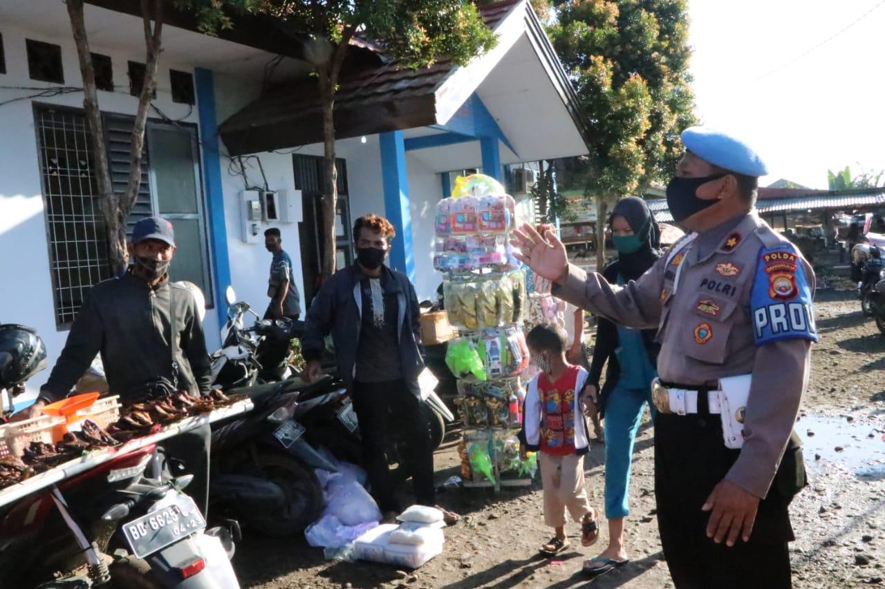Tingkatkan Kedisiplinan Masyarakat Terhadap Protokol Kesehatan, Satgas Aman Nusa Polda Bengkulu Gelar Patroli Dikawasan Wisata dan Pasar