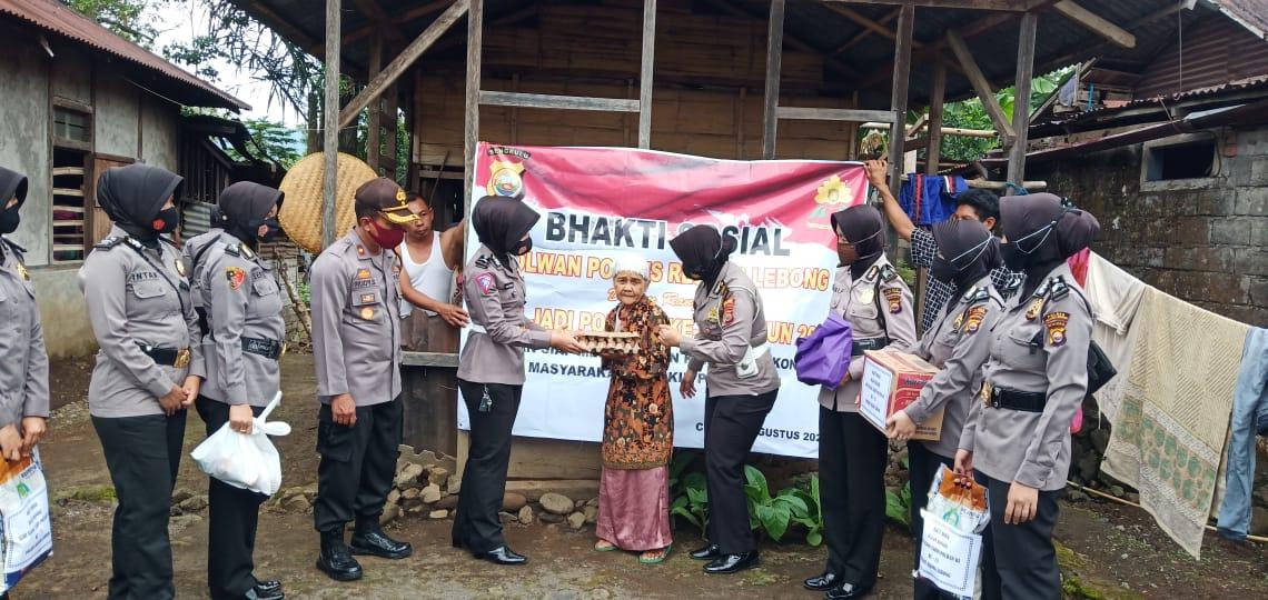Sambut Hari Jadi ke-72, Polwan Polres RL Polda Bengkulu Gelar Bhakti Sosial