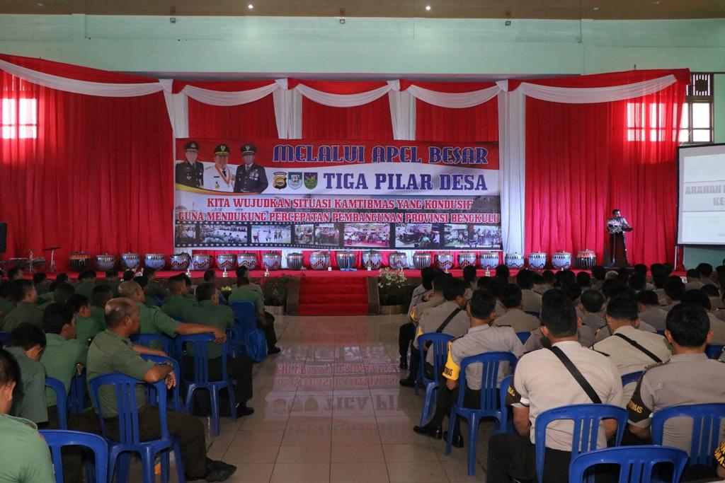 Polda Bengkulu Laksanakan Apel besar Tiga Pilar, Indonesia Harus Kokoh di Level Bawah