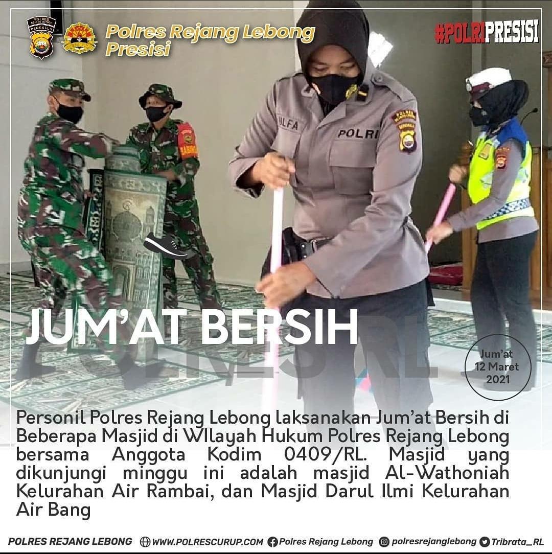 Tingkatkan Sinergitas, Polres RL Bersama Kodim 0409 Gotong Royong Bersihkan Masjid