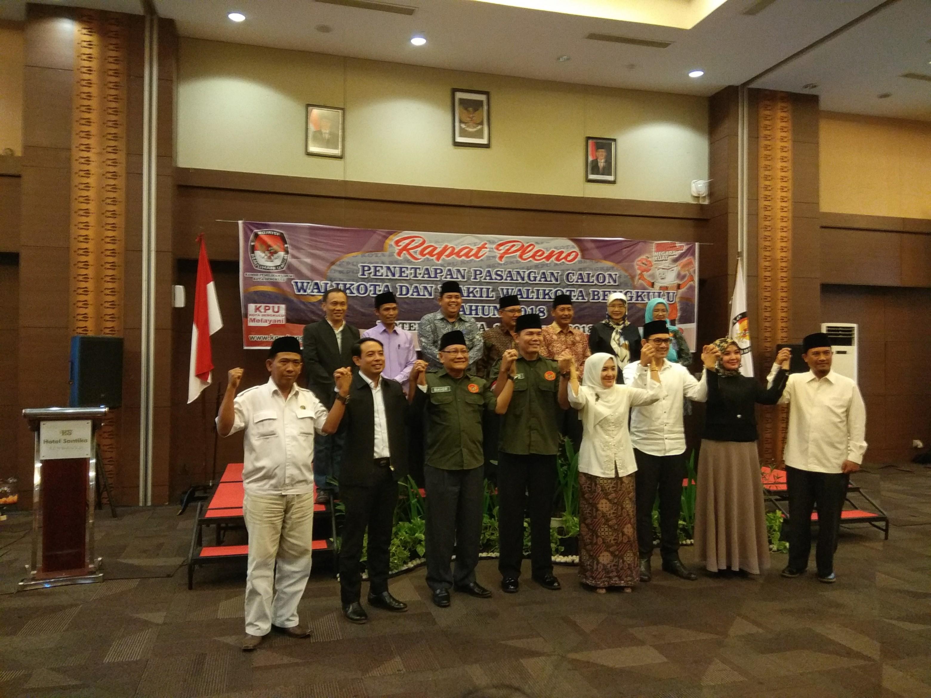 KPU Kota Bengkulu Resmi Tetapkan 4 Pasangan Balon Walikota
