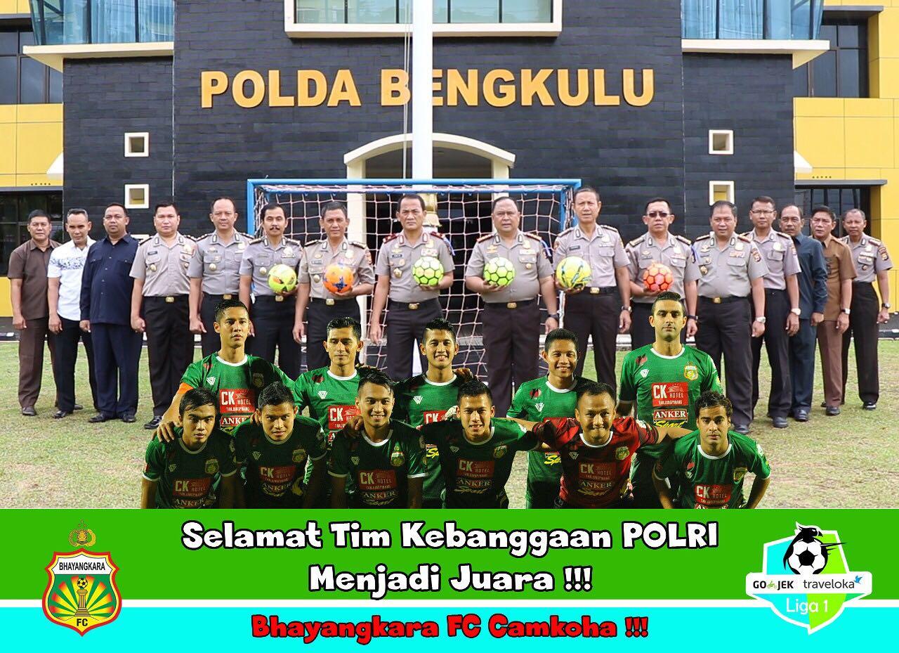 Jadi Juara Liga 1, Kapolda Bengkulu Berikan Ucapan Selamat Kepada Bhayangkara FC