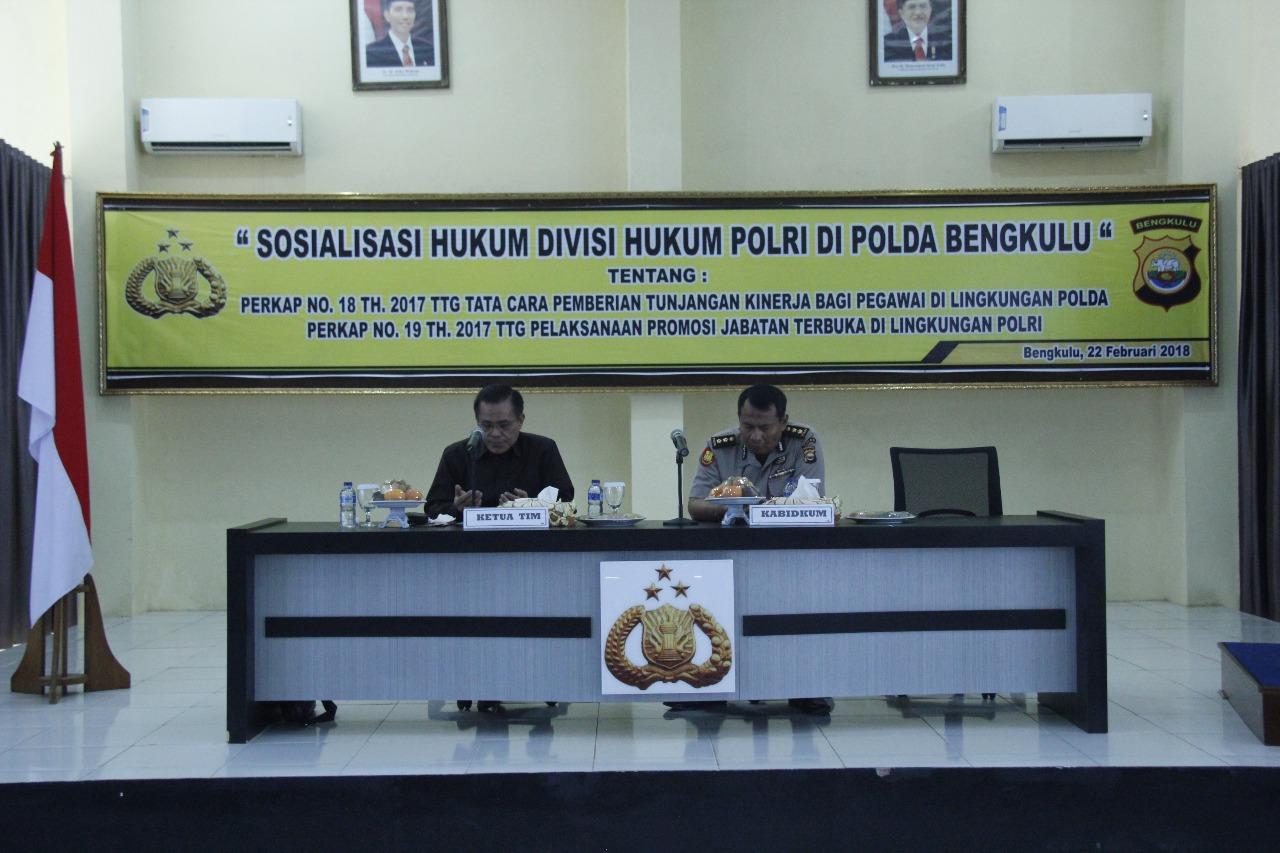 Divisi Hukum Mabes Polri Sosialisasi Hukum di Polda Bengkulu