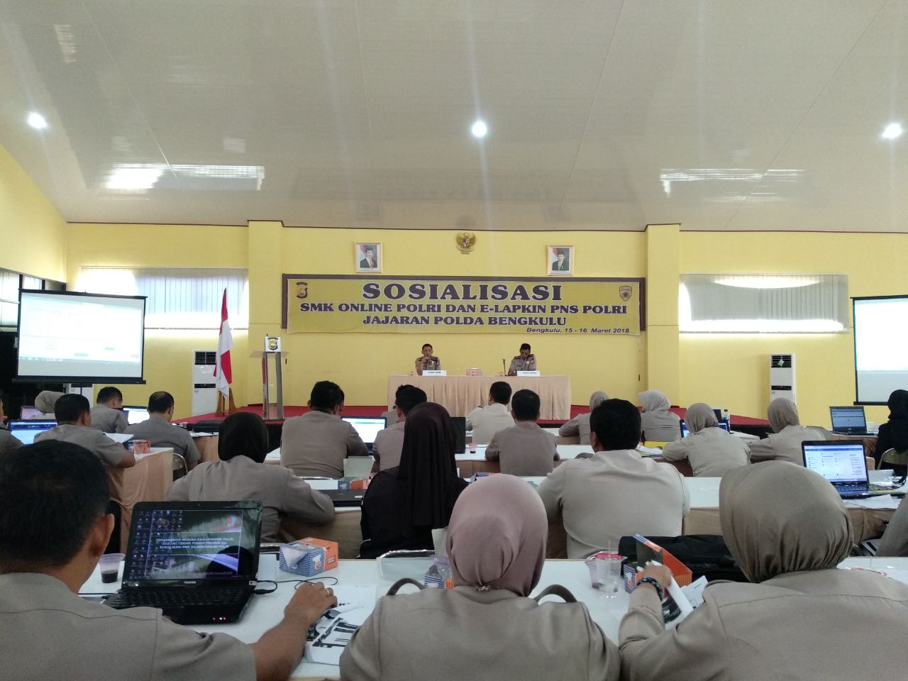 Ini Arahan Karo SDM Polda Bengkulu, Saat Sosialisasi SMK-Online Polri dan E-Lapkin PNS Polri