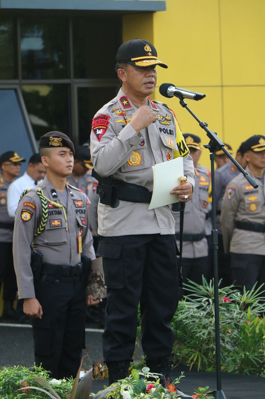 Upacara Bulanan, Kapolda Apresiasi Pelaksanaan Pengamanan Pemilu