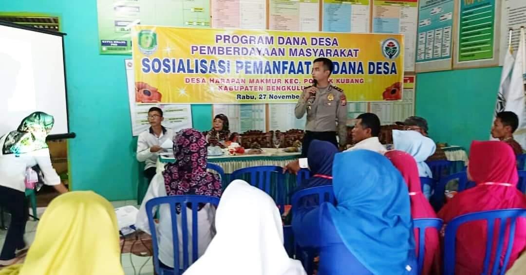Narasumber Sosialisasi Dana Desa, Kapolsek Talang Empat Sampaikan Materi Pencegahan Korupsi