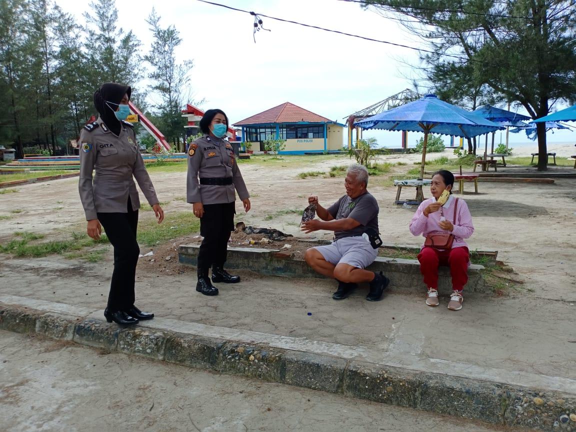 Himbau Prokes Dikawasan Pariwisata, Polres Bengkulu Turunkan Patroli Polwan