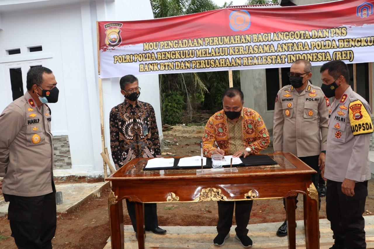 Bangun Rumah Khusus Anggota dan PNS Polri, Polda Bengkulu Gelar MoU Bersama Bank BTN dan REI
