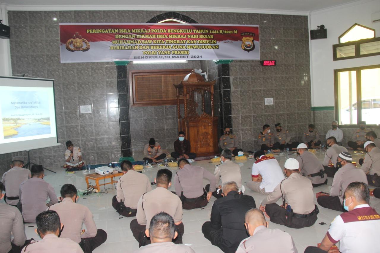 Penceramah Istimewa Rektor Unib, Polda Bengkulu Peringati Isra Mi'raj 1442 H/ 2021 M Sesuai Prokes Covid-19