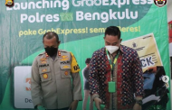 Pertama di Sumatra, Polres Bengkulu Launcing Pelayanan SKCK Via Aplikasi Grab Express