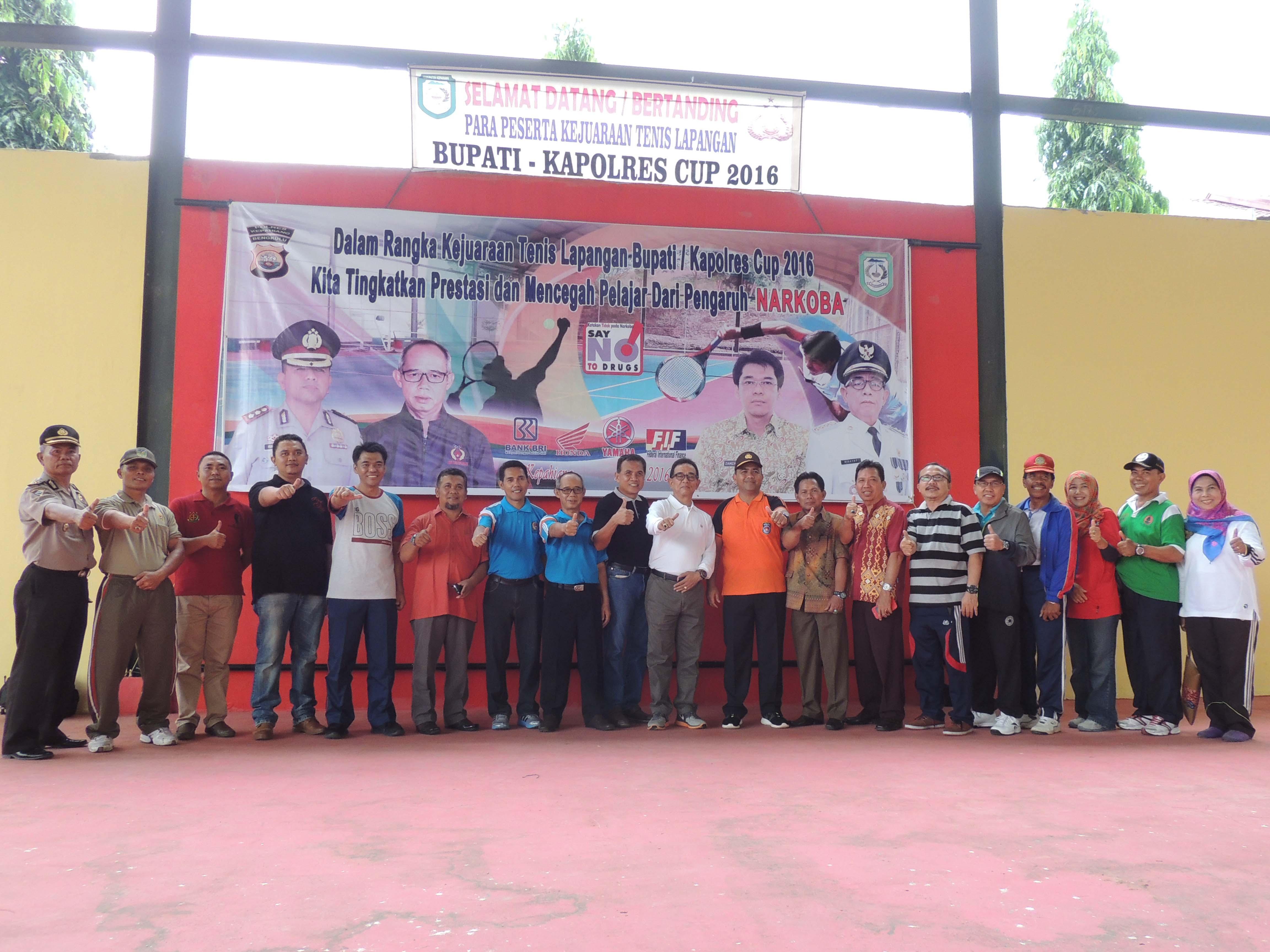 Operasi Bersinar 2016, Bupati dan Kapolres Kepahiang gelar Turnamen Tenis Cup 2016  Anti Narkoba
