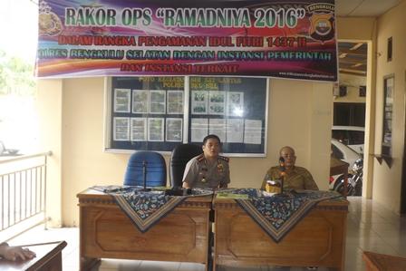 Rakor Operasi Ramadniya 2016 di Polres Bengkulu Selatan