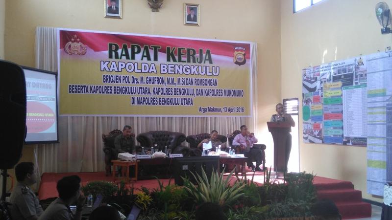 Kapolda pimpin rapat 3 Polres di Bengkulu Utara