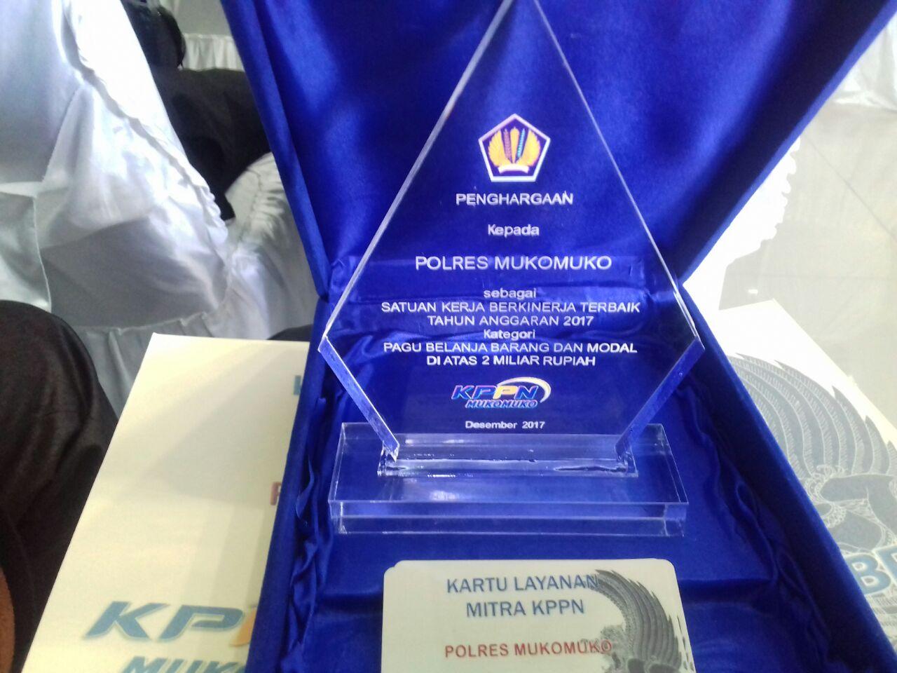 Berhasil Kelola Pagu, Polres MM Raih Penghargaan Dari KPPN