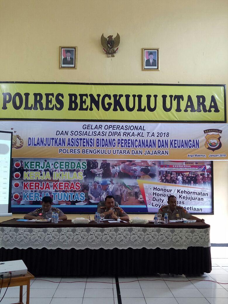 Polres Bengkulu Utara Melaksanakan Sosialisasi Dipa RKA-K/L TA 2018
