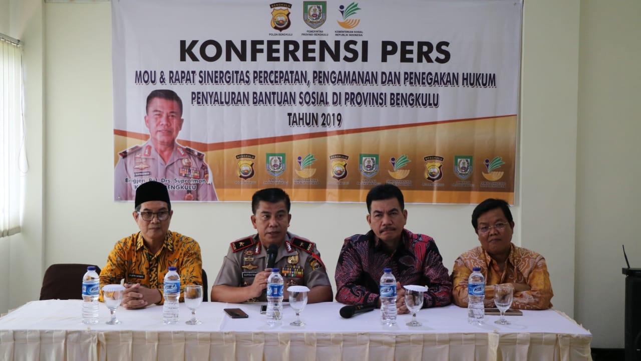 Kawal Penyaluran Bantuan Sosial, Polda Bengkulu, Pemprov dan Kemensos Teken MOU
