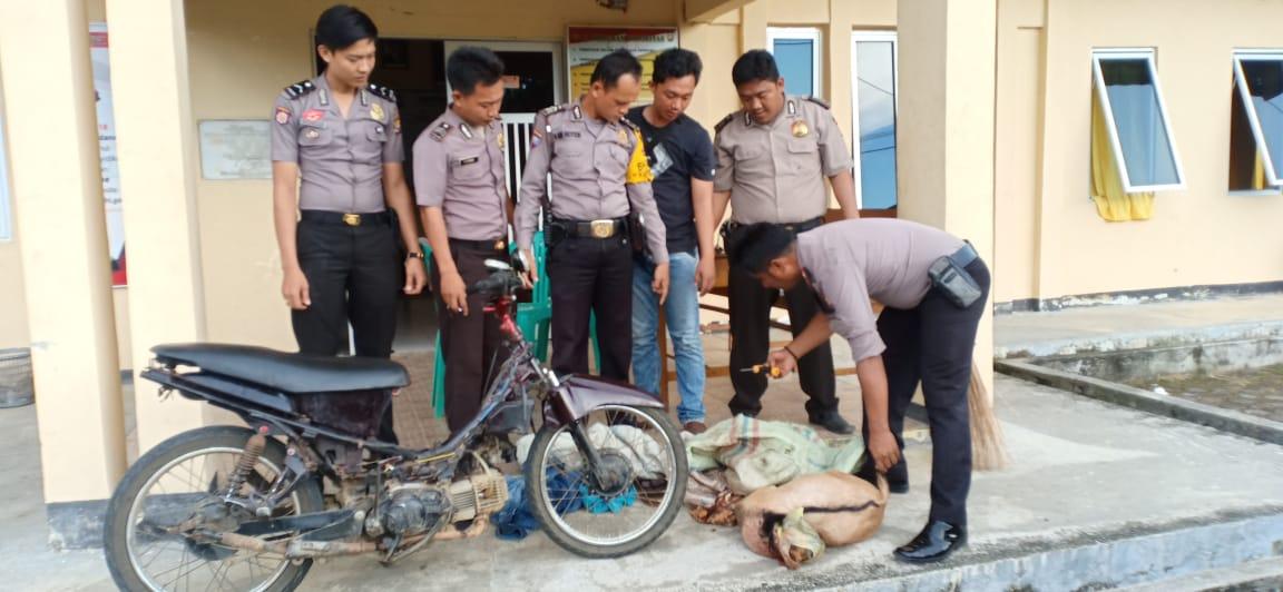 Pergoki Terduga Pelaku Curnak, Kepolisian Amankan Sepeda Motor dan Kambing Yang Telah di Sembelih