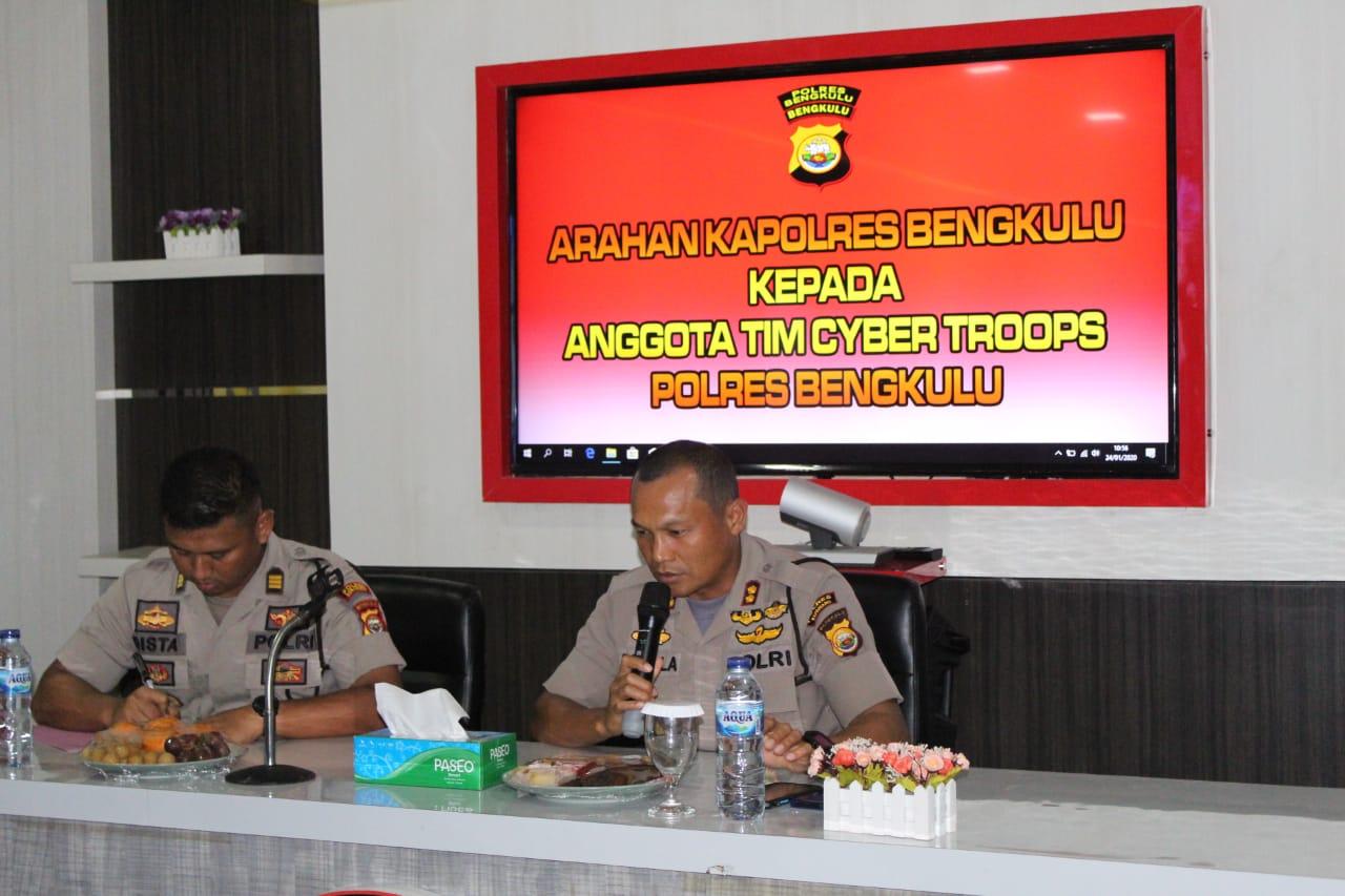 Tingkatkan Kemampuan Tim Cyber Troops, Kapolres Bengkulu Sampaikan Jukrah