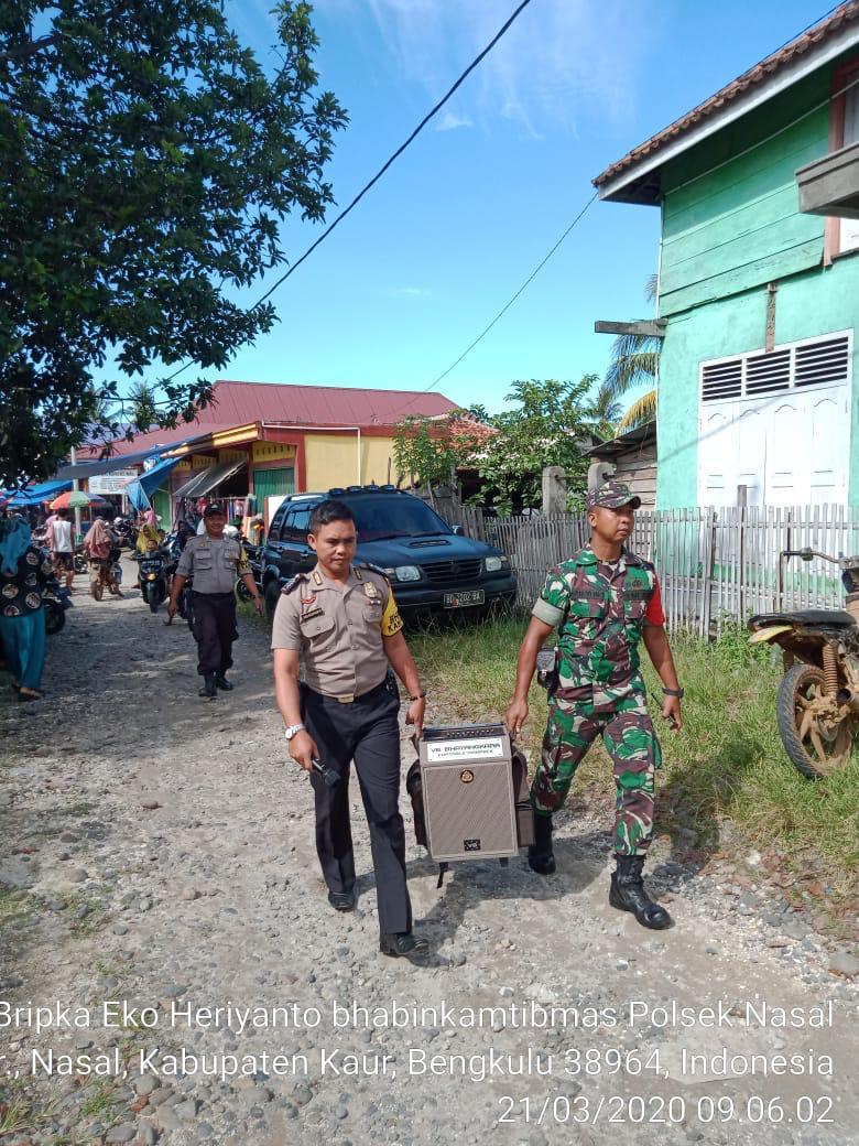 Pencegahan Covid-19, TNI-POLRI Gelar Himbauan Dipasar Nasal