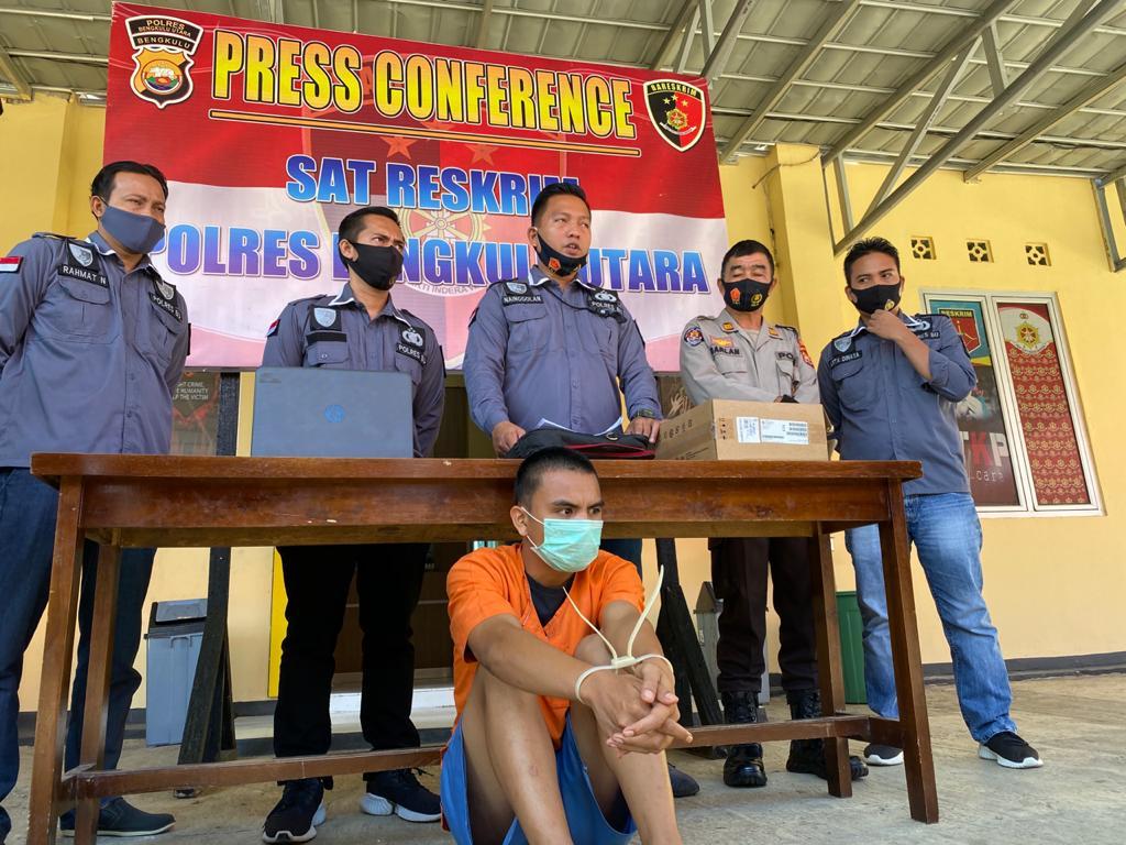 Polres BU Tangkap Pemuda Curi Alat Elektronik SMKN 2 Argamakmur