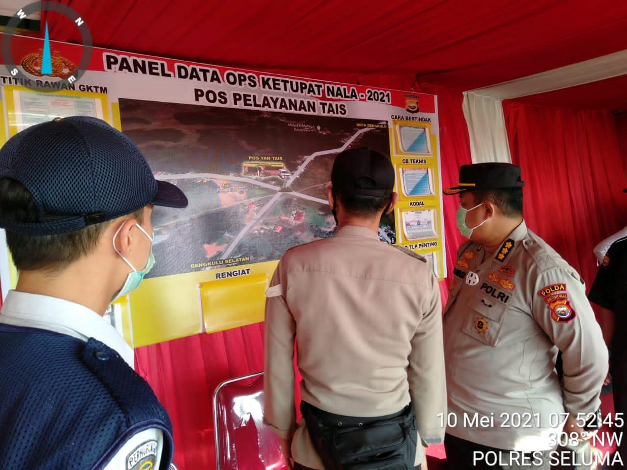 Cek Pelaksanaan Ops Ketupat di Simpang 6 Tais, Tim Supervisi Ingatkan Personil Tak Bosan imbau Prokes Covid-19