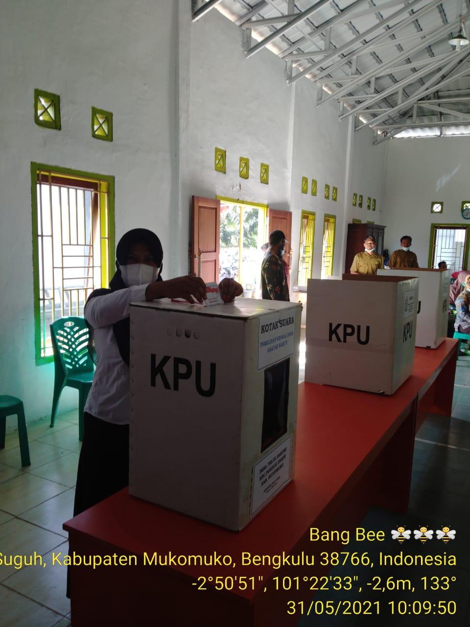 Pemilihan PAW Kepala Desa Teluk Bakung, Polsek Pondok Suguh Gelar Pengamanan dan Himbauan Prokes