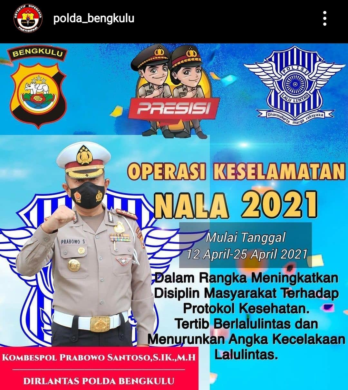 Gelar Ops Keselamatan Nala 2021, Ditlantas Polda Bengkulu Sosialisasikan Larangan Mudik