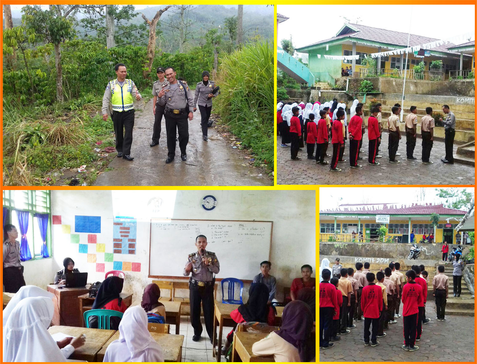 Kolaborasi Satuan Binmas dan Satuan Lalu Lintas Memberikan Penyuluhan Kepada Siswa di Wilayah Pedalaman