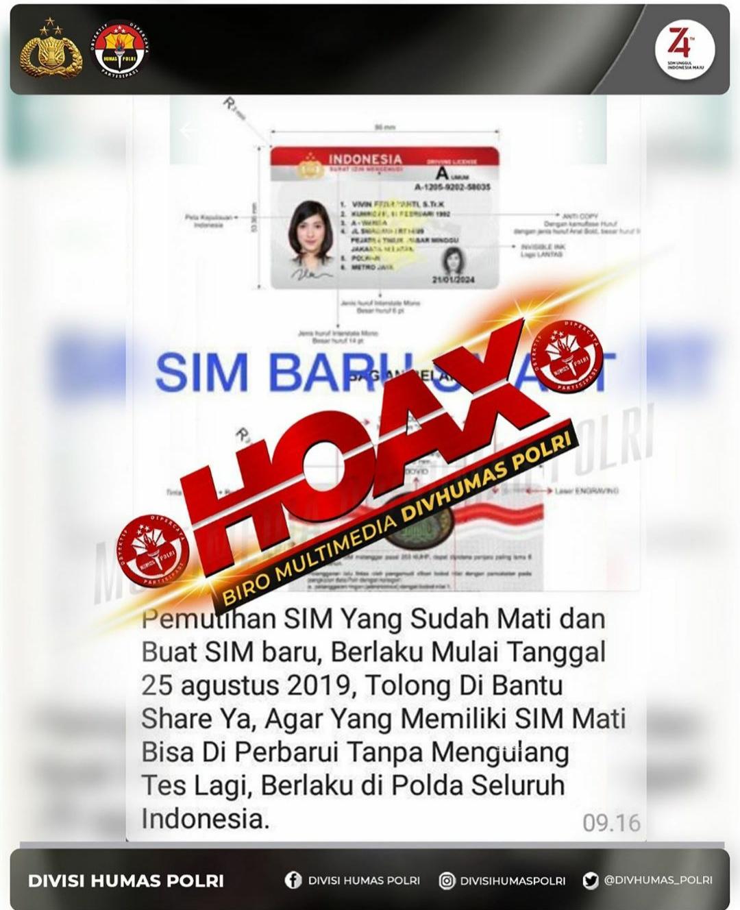 [HOAX] Pemutihan SIM yang Sudah Mati