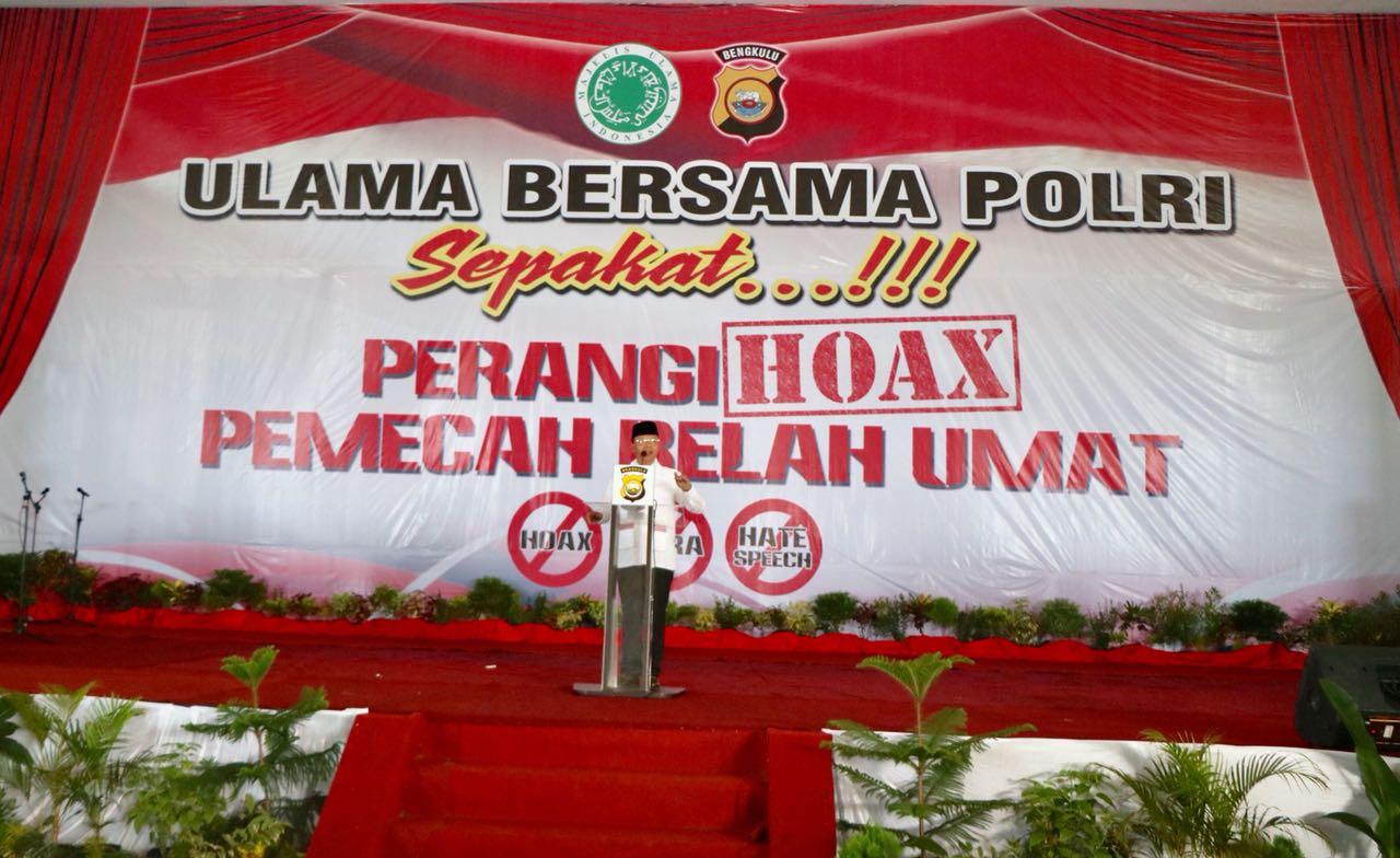 """Plt Gubernur Bengkulu Dukung Gerakan """"Ulama Bersama Polri Sepakat, Perangi Hoax"""""""