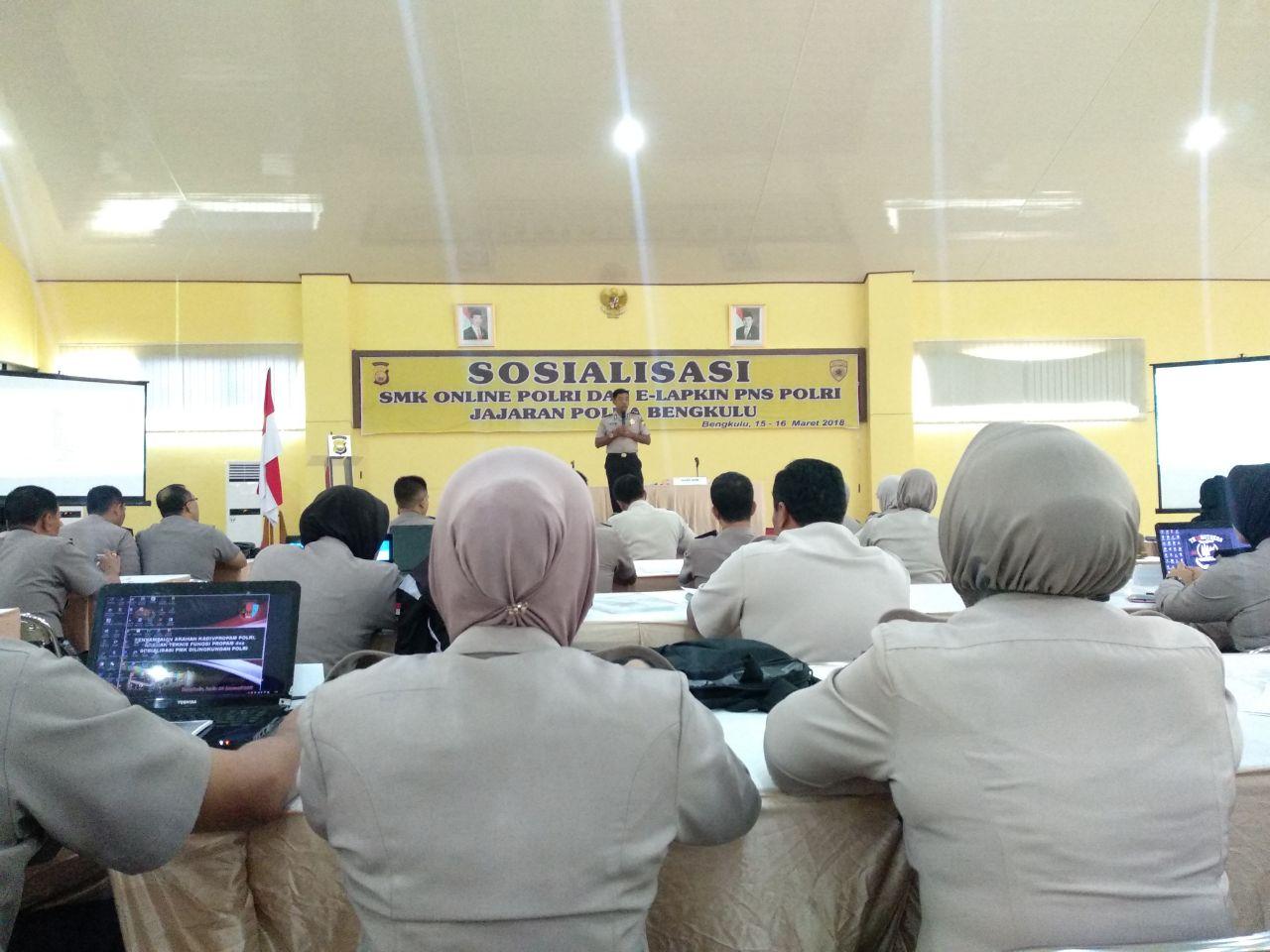 Biro SDM Polda Bengkulu Sosialisasikan Pelaporan SMK dan Lapkin Berbasis Online
