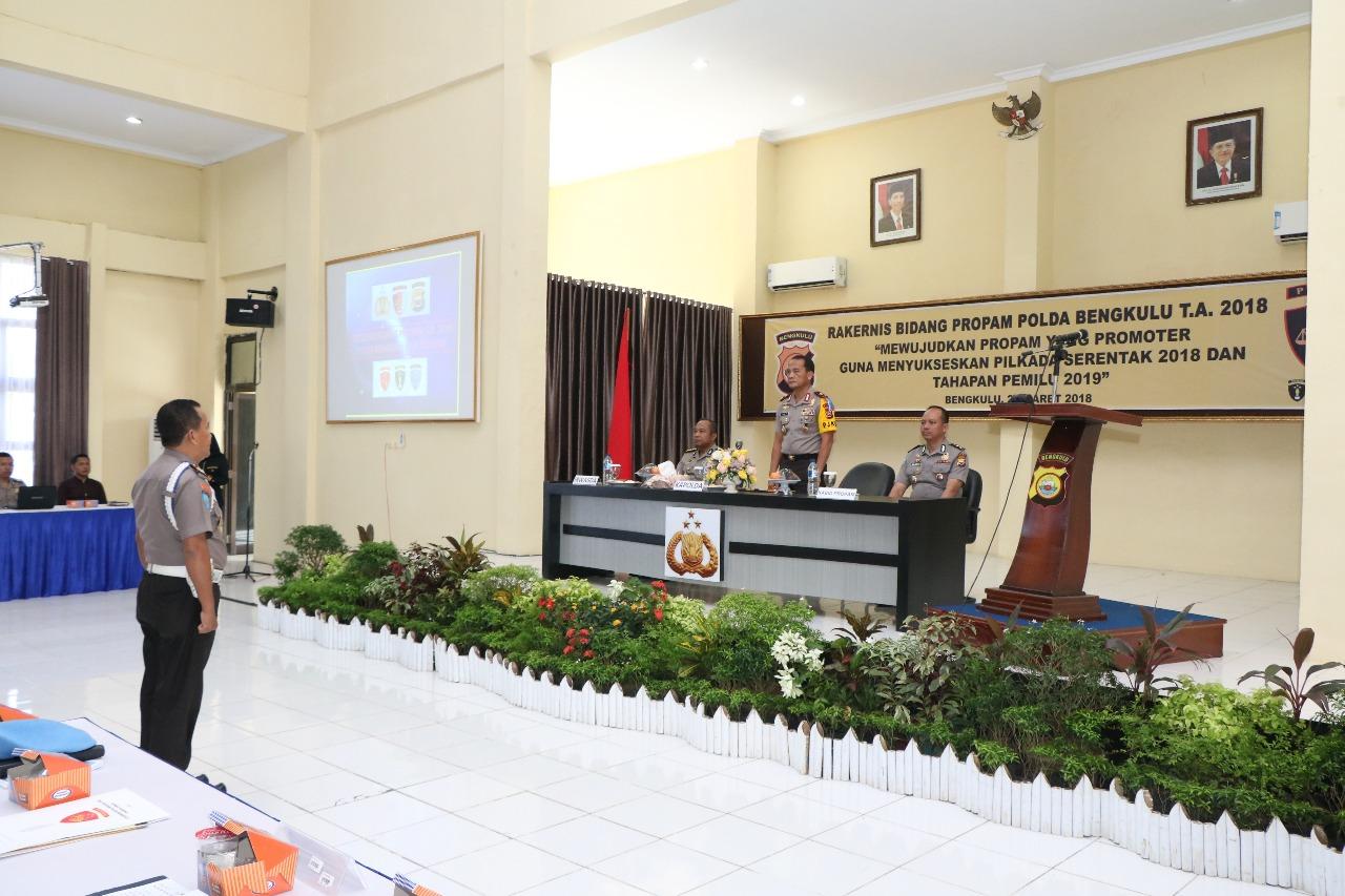 Kapolda Bengkulu Buka Rakernis Bid Propam TA. 2018