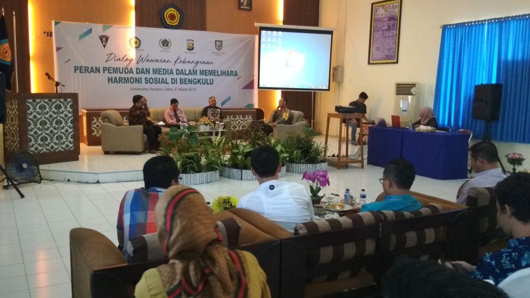 "Dialog Wawasan Kebangsaan, Angkat Tema ""Peran Pemuda dan Media Dalam Memelihara Harmoni Sosial Dibengkulu"""