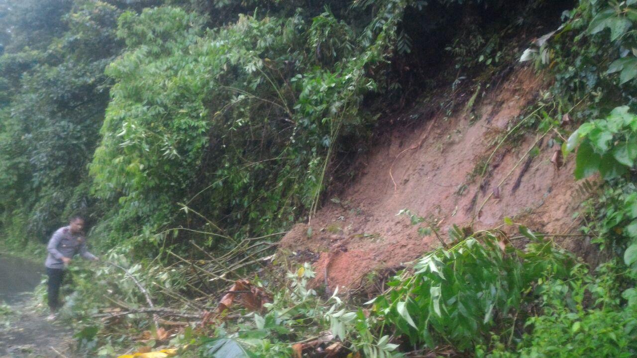 Bersama Warga, Anggota Polsek Kaur Utara Bersihkan Material Longsor dan Pohon Tumbang di Padang Guci Hilir