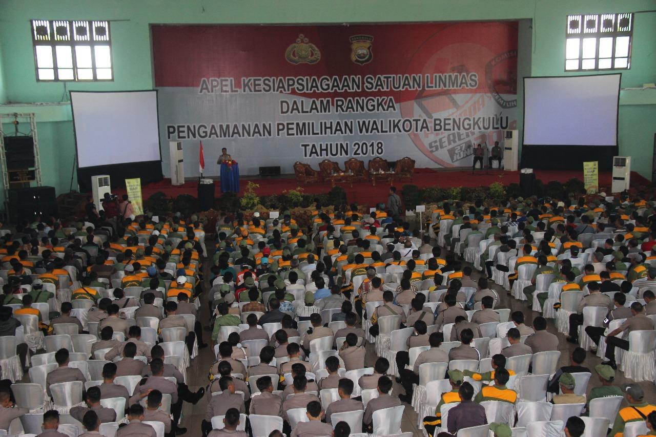 Jelang Pilwakot, Polda Bengkulu Gelar Apel Kesiapsiagaan Linmas
