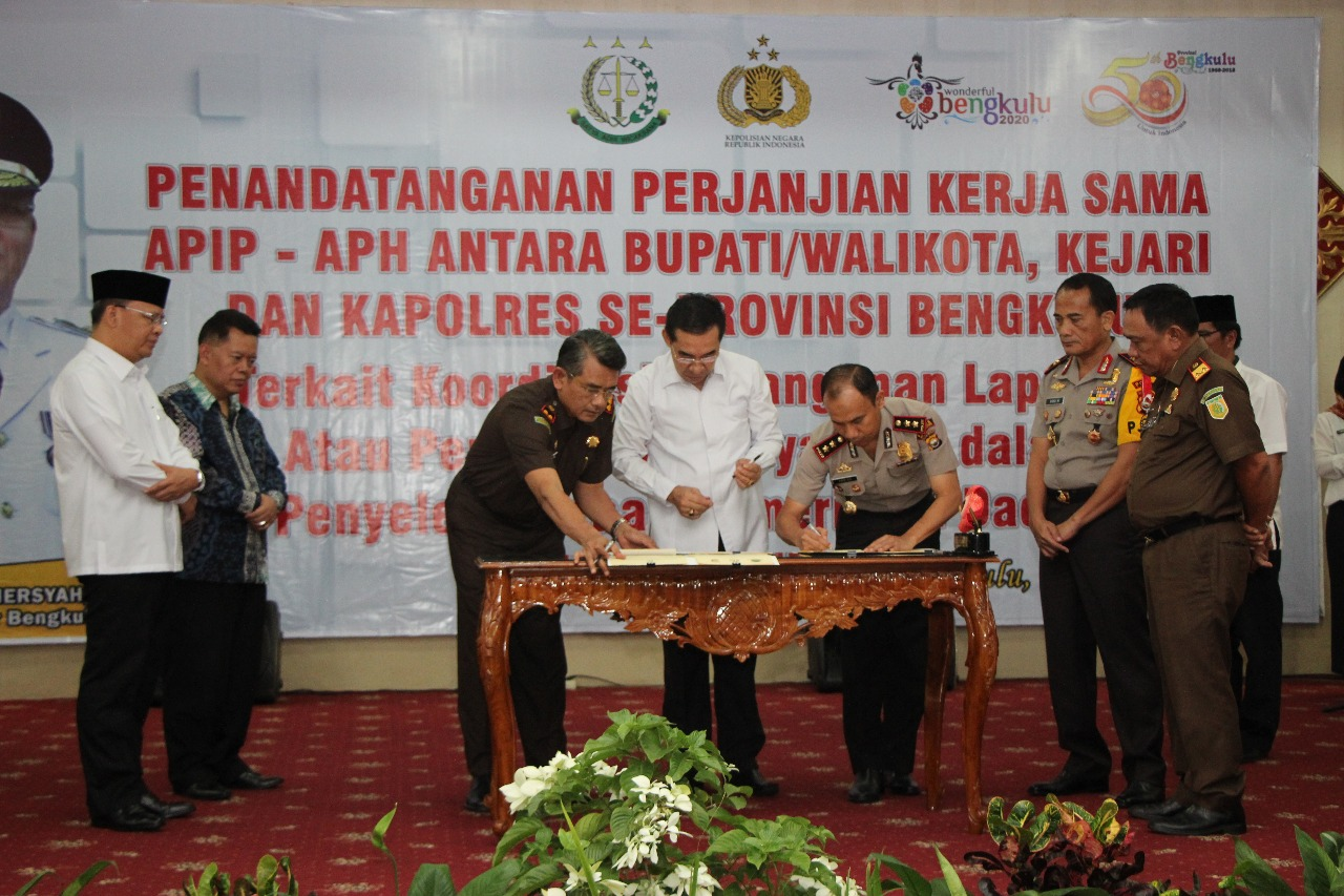 Perjanjian Kerjasama APIP dan APH Disaksikan Kapolda Bengkulu