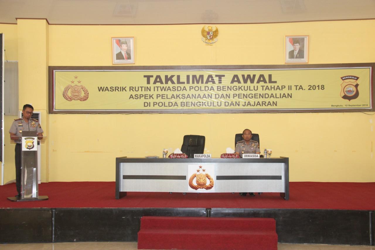 Taklimat Awal Wasrik Polda Bengkulu Tahap II Tahun 2018