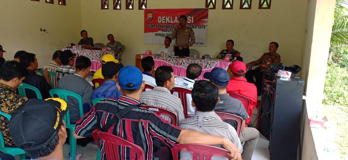 Deklarasi Pemilu Damai Kecamatan Padang Guci Hilir Bersama Polsek Kaur Utara