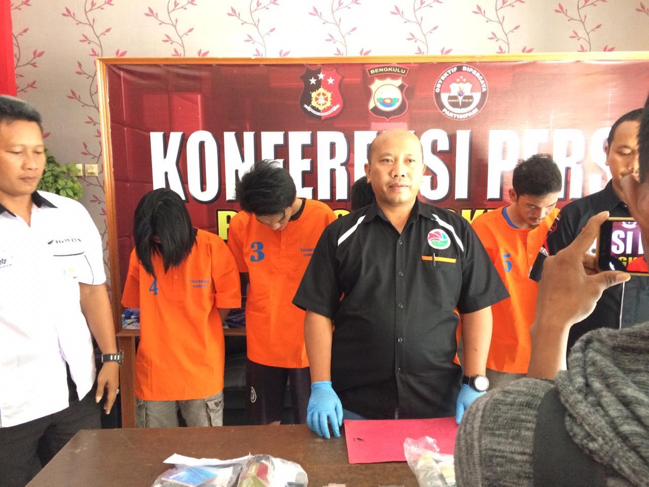 2 Pekan, 5 Orang Pelaku Ditangkap Sat Reskrim Narkoba Polres Bengkulu