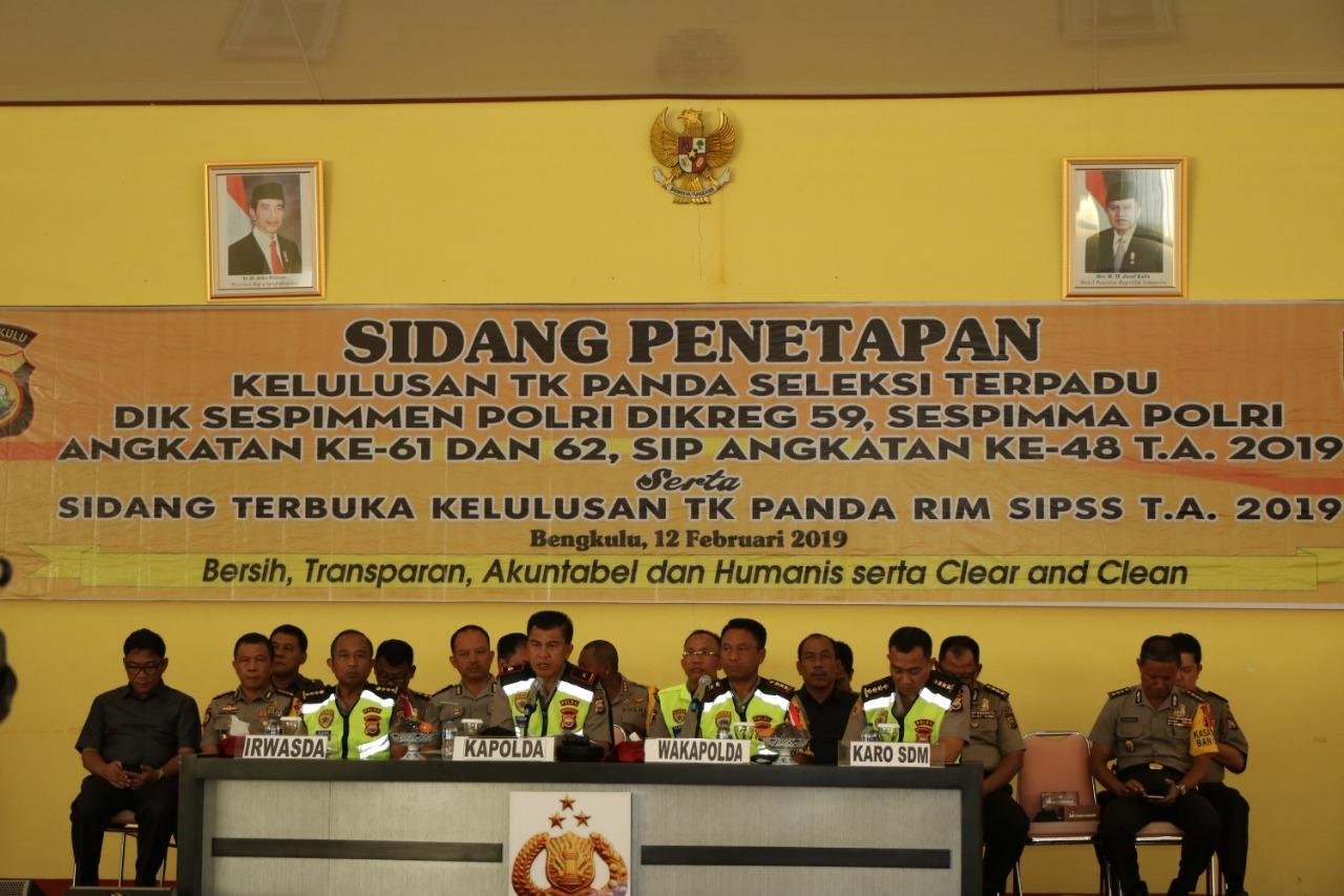 Kapolda Bengkulu Pimpin Sidang Penetapan  Seleksi SIPSS dan Dikbangum POLRI