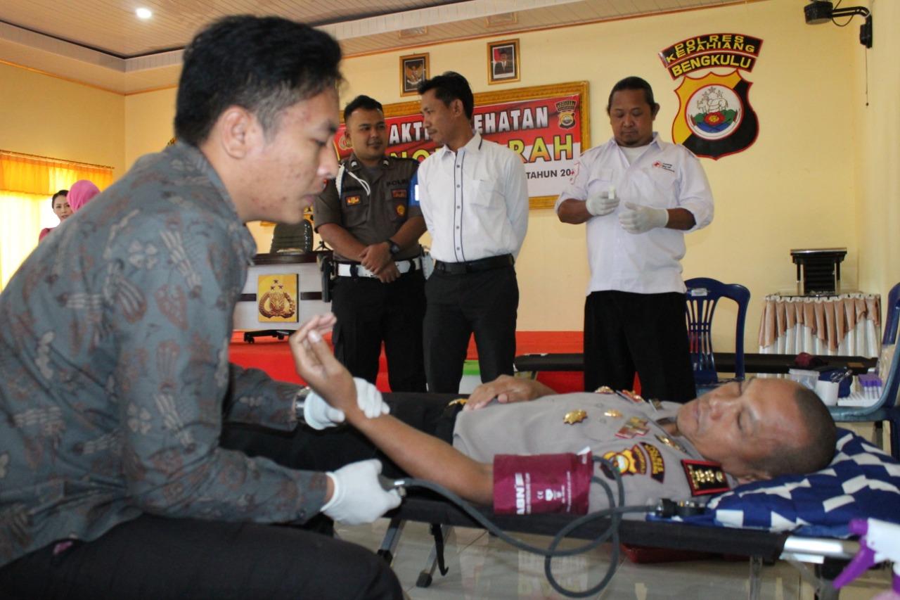 HUT Polri ke-73, Polres Kepahiang Gelar Bhakti Kesehatan Donor Darah