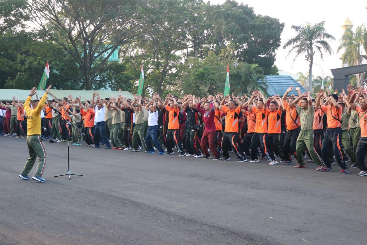 Polda Bengkulu Gelar Olahraga Bersama TNI/POLRI