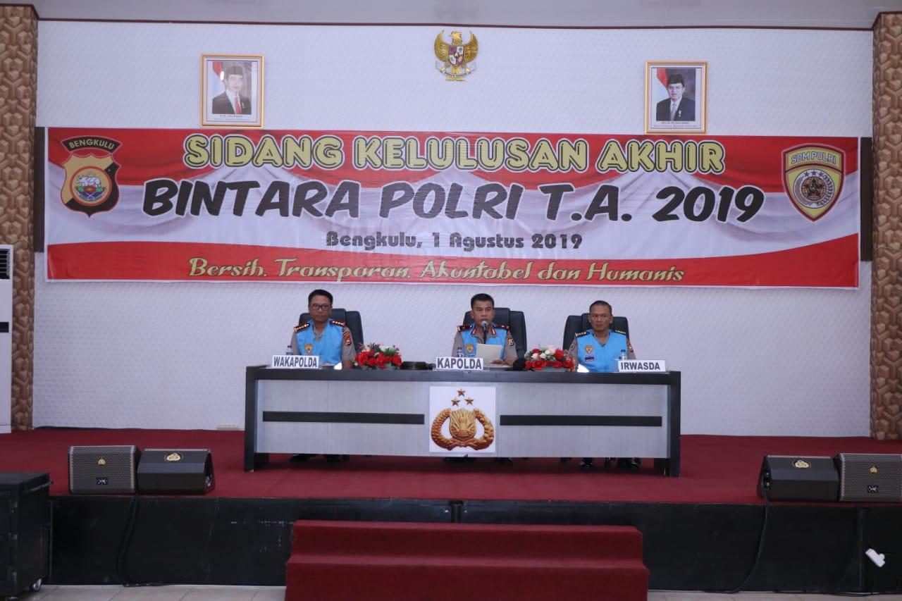 Sidang Penetapan Bintara Polri 2019, Kapolda Bengkulu Optimis Lahirkan Polisi yang Promoter
