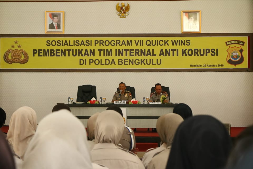 Irwasda Polda Bengkulu Buka Sosialisasi Quick Winss Program VII Tentang Pembentukan Tim Internal Anti Korupsi