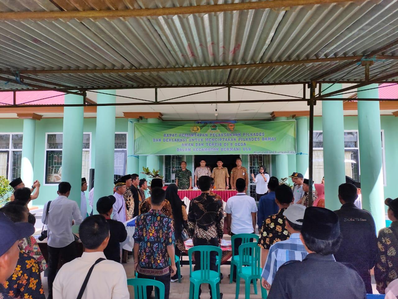 Rapat dan Deklarasi Bersama Ciptakan Pilkades Damai di Kecamatan Bermani Ulu