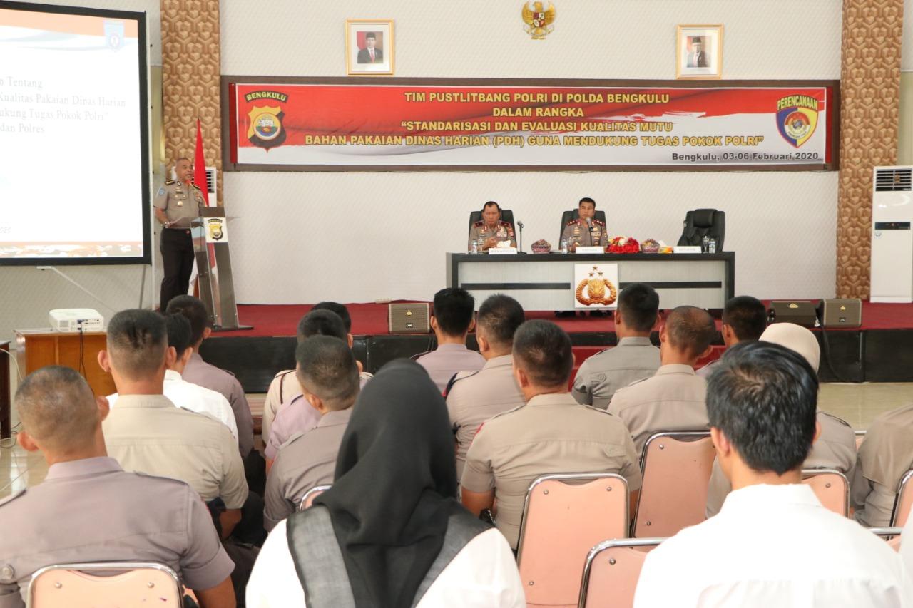 Puslitbang Polri Gelar Penelitian Standarisasi dan Evaluasi Mutu Pakaian PDH di Polda Bengkulu